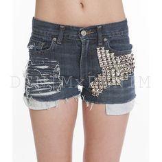 #Denim Boson Silver Studs #Shredded #Cutoff #Ripped #Vintage #Shorts Hem Levi's