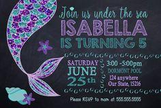 Mermaid Invitation Custom Mermaid Birthday Party Invitation