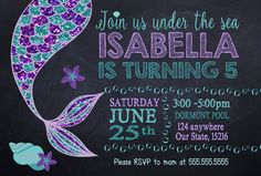 Custom Mermaid Birthday Party Invitation Printable digital Purple Teal, glitter, under the se