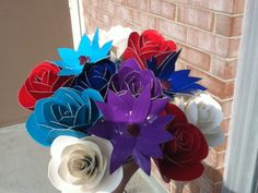 A practice bouquet of duck tape flowers.