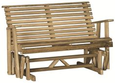 LuxCraft Wood Rollback Garden Glider from DutchCrafters Amish Furniture. Create a spot to watch the birds, butterflies, and bees at work with this solid wood outdoor bench-style glider. Made in Ohio. Option to add colorful pillows and personalized plaque. Available in 4' or 5'. #outdoorgliderbench #cushions