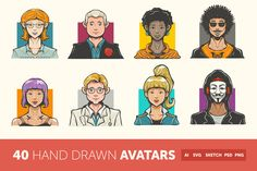 Hand Drawn Avatar Icons by roundicons.com on Creative Market