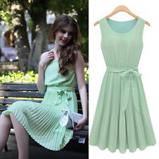 Women's Ladies Green Chiffon BOHO Pleated Sleeveless Party Cocktail Summer Dress