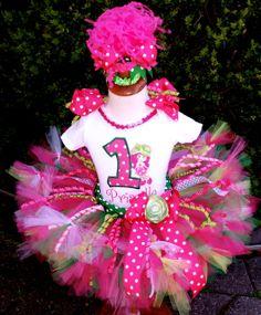 NEW!  Strawberry Shortcake Hot Pink Green Birthday Over the Top Petti Tutu Set by PoshPinkTutus, Etsy