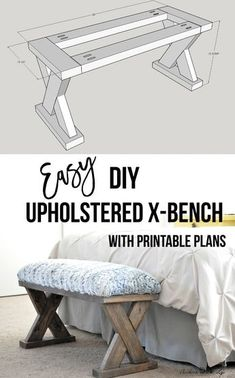 DIY Upholstered X-Bench using 2 x 4 boards with Plans, Diy And Crafts, I love this! The perfect weekend woodworking project! Build this upholstered X-bench with simple tools in a few hours! Grab the printable plans! Wood Projects For Beginners, Scrap Wood Projects, Wood Working For Beginners, Diy Projects, Simple Wood Projects, Design Projects, Woodworking Bench Plans, Woodworking Projects That Sell, Popular Woodworking