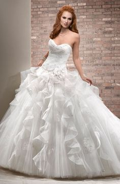 Bridal Gowns: Maggie Sottero Princess/Ball Gown Wedding Dress with Sweetheart Neckline and Dropped Waist Waistline