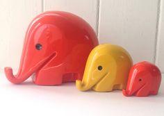 LARGE XXL size Red Vintage Space Age Mid-Century Colani Elephant Money Box 1970s