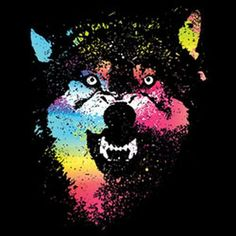 Woman Blacklight T Shirt Colorful Wolf Neon Florescent Wolf Print  19948NBT2