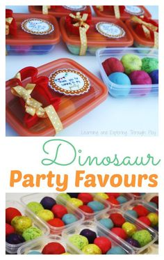 Learning and Exploring Through Play: Dinosaur Playdough Party Favours