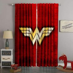 3D Printed Wonder Woman Style Custom Living Room Curtains Girls Bedroom Curtains, Curtains Behind Bed, Bedrooms, Bedroom Themes, Wonder Woman Shirt, Wonder Woman Logo, Wonder Woman Birthday, Custom Curtains, Custom Bedding