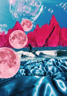 Trippy Ocean Collage Art Print