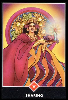 "Daily Angel Oracle Card: Sharing, from the Osho Zen Tarot Card deck, by Osho Sharing: ""The Queen Of Fire is so rich, so much a queen, that she can afford to give. It doesn't even occur … Tarot Card Decks, Tarot Cards, Zen, Osho Tarot, Queen Of Fire, Osho Meditation, Card Drawing, Angel Cards, You Draw"