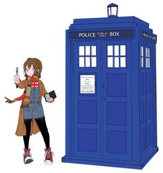 "Whovian Girl  All done in Illustrator   Red Chucks - Worn by David Tennant (he wears this particular color with his blue suit)  Brown Overcoat - Worn by David Tennant (Season 4 Episode 6 ""The Poison Sky"") Martha Jones wears this coat in this episode.  Blue Overalls, British Shirt & Black Leggings - Worn by Rose Tyler (Season 1 Episode 3 ""Tooth and Claw"") When i think of Rose i automatically vision this outfit.  Sonic Screwdriver - David Tennant's  Long Scarf - Worn by Tom Baker Doctor #4"