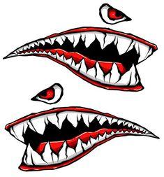 World War Fighter Tiger Shark Teeth Gel Side Body Kit - Immortal Graphix Motorcycle Stickers, Bike Stickers, Honda Pcx, Vw T3 Syncro, Garage Art, Airbrush Art, Pinstriping, Nose Art, Custom Paint