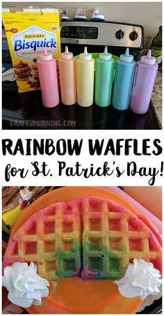 Make rainbow waffles for a st patricks day breakfast! Easy fun idea that you can make pancakes too. Make rainbow waffles for a st patricks day breakfast! Easy fun idea that you can make pancakes too. Easy To Make Desserts, Köstliche Desserts, Holiday Treats, Holiday Recipes, Party Treats, St Patrick Day Snacks, Comida Disney, St Patricks Day Crafts For Kids, St Patricks Day Snacks For School
