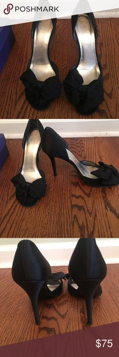 Stuart Weitzman satin shoes Black satin. 9.5. Open toe with bow in front. Gently worn. Light signs of wear mostly on sole. Comes with original box. Stuart Weitzman Shoes Heels