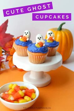 These Candy Corn Ghost Cupcakes are not only ridiculously cute, but they're ridiculously easy to make too! They're probably the easiest Halloween cupcakes you will ever make! #ThePurplePumpkinBlog #HalloweenCupcakes Halloween Party Drinks, Halloween Cupcakes Easy, Cheap Halloween Decorations, Ghost Cupcakes, Cute Cupcakes, Baking Cupcakes, Recipes Using Cake Mix, Cupcake Recipes From Scratch, Vanilla Cake Mixes