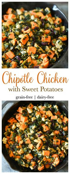 Chicken with Sweet Potatoes Quick and easy to make Chipotle Chicken with Sweet Potatoes. One pot. THM-EQuick and easy to make Chipotle Chicken with Sweet Potatoes. One pot. THM-E Healthy Carbs, Healthy Cooking, Healthy Recipes, Thm Recipes, Healthy Meals, Delicious Meals, Vegetarian Meals, Quick Recipes, Easy Cooking