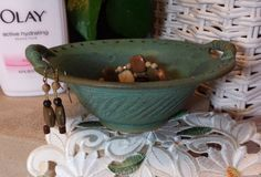 Jewelry Organizer Bowl Bracelet Holder Earring Tree Ring Dish Ceramic Chattered Pottery Green Patina Handmade to Order Great Gift for Her!