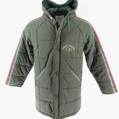 Details: Made in Hong Kong by Ocean Pacific Gray color Quilted pattern 65% Polyester and 35% Cotton material 2 Waist zip exterior pockets with 1 interior pocket Zip front with snap flap Single Breasted Center zip hood with drawstring Ocean Pacific embroidery on left chest Raglan shoulder seams Fully Lined with 100% polyester fill insulation Green, purple, orange, & red color stripe accents on both sleeves SIZE: Tag Size = Mens Medium Actual measurements taken flat on the outside: Che...