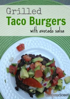 Grilled Taco Burgers Recipe with Avocado Salsa