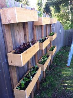 Best Backyard Landscaping Along Fence Plants Planter Boxes Ideas Hanging Plants On Fence, Hanging Planter Boxes, Hanging Herbs, Garden Planter Boxes, Wooden Garden Planters, Fence Planters, Planter Ideas, Diy Hanging, Garden Plants