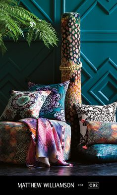 Introducing our newest collection with iconic British fashion designer Matthew Williamson.  Get the #LondonEclectic look with these vibrantly patterned pillows, poufs and linens that add just the right dose of color.