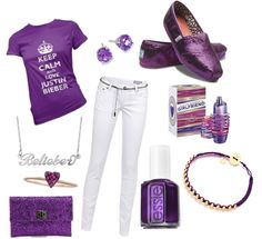 "I would totally wear this because it has my favorite color""purple"" also because I love ""JB""!"