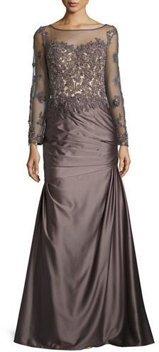 "La Femme woven taffeta gown with embroidered mesh top. Approx. 60""L from shoulder to hem. Bateau neckline; semisheer yoke  affiliate link"