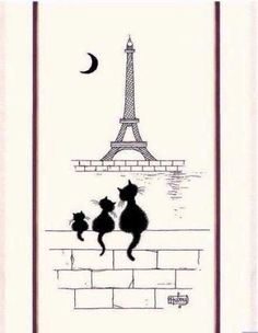 Dubout - Chats Tour Eiffel Kitchen / Tea Towel
