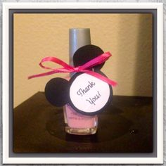 Minnie Mouse theme girls birthday party, baby shower, or bridal shower. Minnie Mouse Nail polish favor.