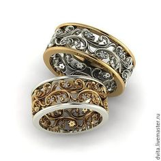 A pair of beautiful white and yellow gold filigree wedding bands. Skull Jewelry, Gold Jewelry, Jewelry Rings, Fine Jewelry, Unique Jewelry, Jewelry Making, Do It Yourself Fashion, Schmuck Design, Vintage Rings