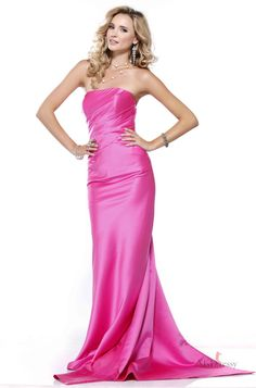 Elegant Strapless Ruched Satin Evening Dress with Bow Drap By Stylist 2013 Dressy Dresses, Satin Dresses, Cute Dresses, Girls Dresses, Dresses 2014, Ball Dresses, Long Formal Gowns, Formal Evening Dresses, Strapless Dress Formal