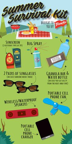 Between the picnics and hikes, summertime gets really busy. This Summer Survival Kit will help make sure you have everything packed and ready to go.