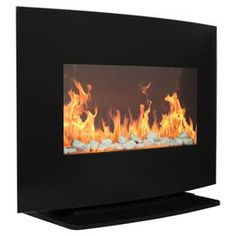 Curved Glass Electric Fireplace Heater