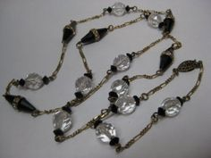 Black Clear Rhinestone Necklace Glass by vintagejewelryalcove, $17.50