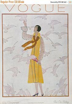 50% off ESTATE SALE Vintage Vogue Cover Poster by millpondvintage