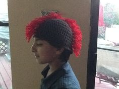 My baby wearing a crocheted mohawk beanie made by Neemami!
