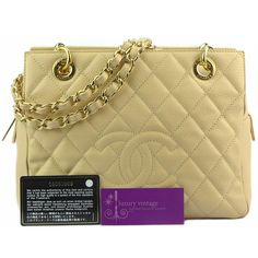 CHANEL PST Beige Color Caviar With Gold Hardware Good Condition Ref.code-(BVULU-3) More Information Pls Email  (- luxuryvintagekl@ gmail.com )