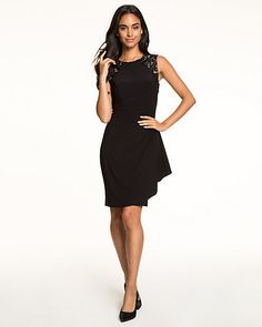 Knit & Lace Scoop Neck Cocktail Dress - Delicately placed lace updates our knit cocktail dress fashioned with a fitted silhouette and finished with a bold ruffled side. Knit Lace, Lace Knitting, Bridesmaids, Scoop Neck, Fashion Dresses, Cocktail, Silhouette, My Style, Hair