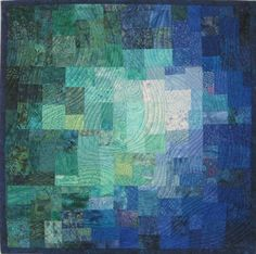 """Blue Green Teal Mosaic quilt, 31"""" square, by Sharon Koppel"""