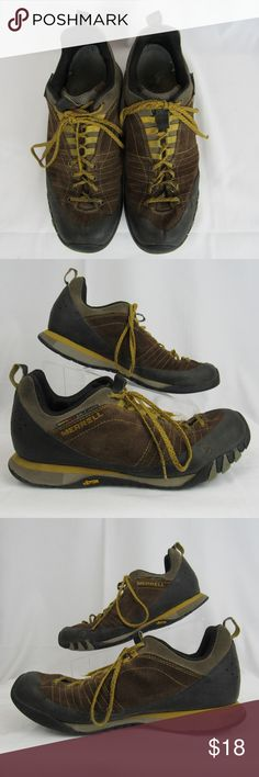 Merrell hiking shoe mens size 8 1/2 These Merrell's are in decent preowned condition. The good about them has to do with the leather uppers. They're in good shape as are the rubber heel and toe caps. Not so good are the outsoles. The Vibram sole is worn down that I'd call them in fair shape. Nubs worn down; some peeling. They're alive and kicking but aging. Please look through the pictures, especially the soles to feel comfortable with color and condition.  INV-A1-180025 Merrell Shoes…