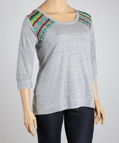 Take a look at this Roof Top Gray Hi-Low Top - Plus by Derek Heart on #zulily today!