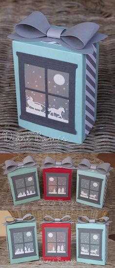 Christmas luminaries project & tutorial-instructions made with Stampin Up Sleigh Ride & Hearth and Home dies & gift bag punch board. By Di Barnes Stampin Up Christmas, Noel Christmas, Christmas Paper, Christmas Wrapping, Christmas Projects, Holiday Crafts, Window Cards, Jingle All The Way, Stampin Up Cards