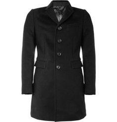 Velvet-Collar Wool and Cashmere-Blend Overcoat