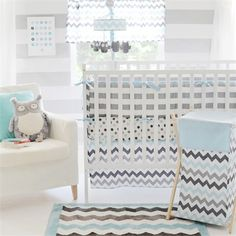 Mixing playful patterns and color combinations, the Chevron Baby 3-Piece Crib Bedding Set in Aqua from My Baby Sam will create a stylish nursery for your new baby!