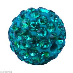 Perle Shamballa 10 mm - Bleu zircon
