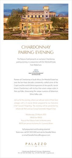 De Wetshof Estate Chardonnay Pairing evening at The Palazzo - 25th March 2015