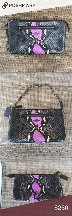 Coach Exotic Leather Embossed Purse Coach Exotic Leather Embossed Purse.  New with tags.  Gorgeous combination of colors:  black, gray/silver purple or lilac and shinny light color.  This is the perfect coach bag to wear during the evening.  Mostly known for their day handbags, this bag can be used as a Wristlet with the silver chain or small handbag.  From the Coach Boutique. Coach Bags Clutches & Wristlets