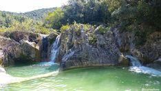 Les Aiguières, c'est presque un parc d'attractions aquatique naturel, un petit ruisseau paisible coule d'une vasque à l'autre sur plusieurs kilomètres. Entre chaque vasque, une cascade plus ou moins petite. L''endroit est idéal pour une baignade insolite, une randonnée les pieds dans l'eau ou la pratique du canyoning…    L'idéal serait de parcourir … Le Gard, Les Cascades, Waterfall, Camping, Travel, Outdoor, Garden, Scenery, France